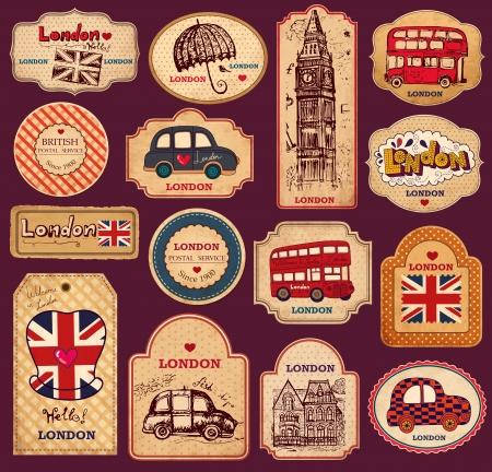 Weinlese-Tags und Labels mit London Symbole Illustration