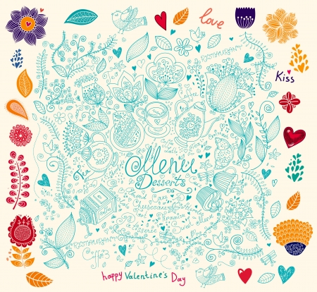 tea party: Vector illustration for design menu and invitations