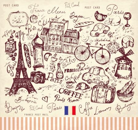 Cart?o do vetor com o franc?s Paris e s?mbolos