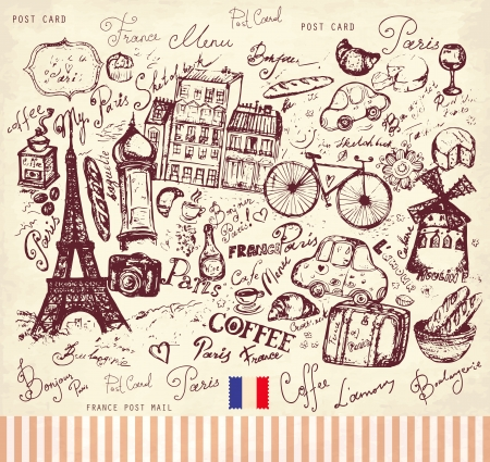 Vector card with french and Paris symbols