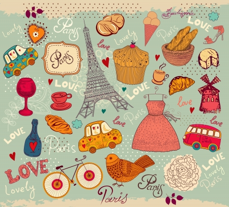 pasteleria francesa: Vector tarjeta de s�mbolos con el franc�s y Par�s Vectores