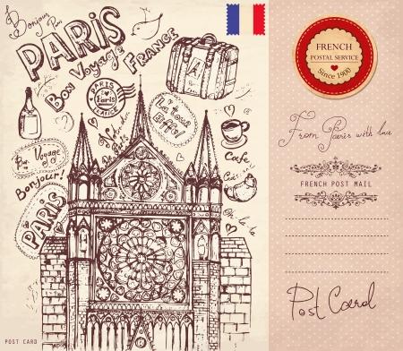 Crayon à la main illustration tirée par des symboles de Paris