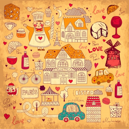 romantic getaway: Vector card with french and Paris symbols