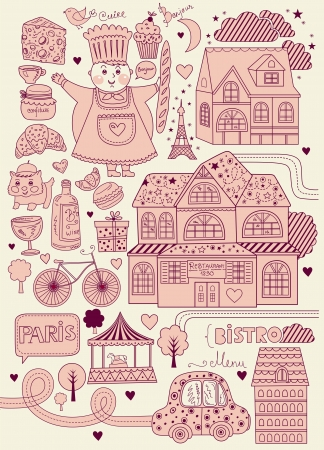 Vector card with french and Paris symbols Vector