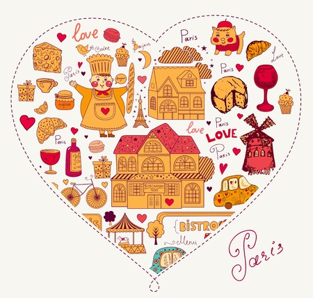 Vector card with french and Paris symbols Stock Vector - 17393627