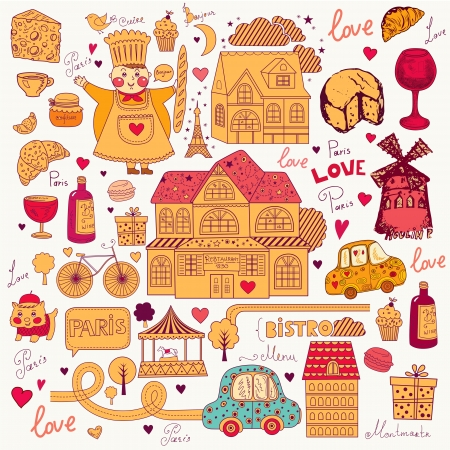 Vector card with french and Paris symbols Stock Vector - 17393625