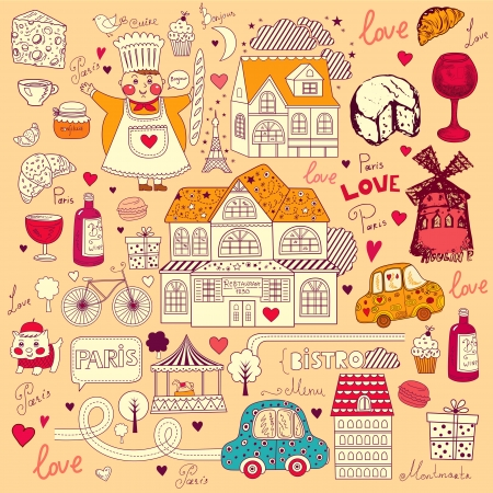 Vector card with french and Paris symbols Stock Vector - 17393629