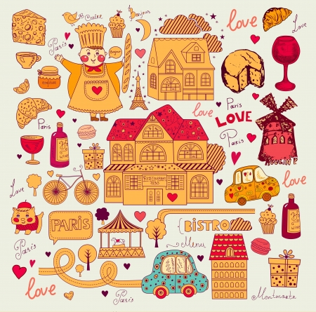 Vector card with french and Paris symbols Stock Vector - 17393630