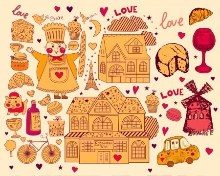Vector card with french and Paris symbols Stock Vector - 17393620