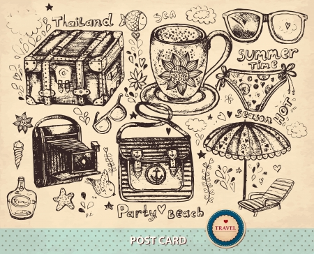 hand drawn card with travel summer symbols Vector