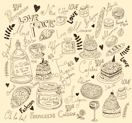 Vector background with symbols of food France Vector