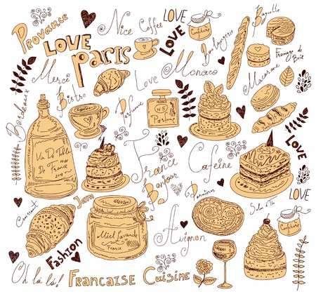 Vector background with symbols of food France Stock Vector - 17393677