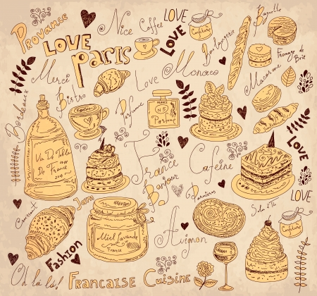 Vector background with symbols of food France Stock Vector - 17393701