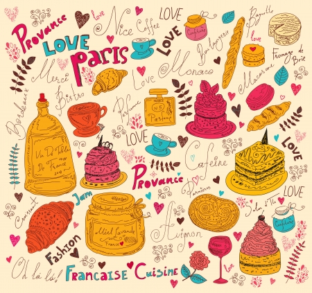 Vector background with symbols of food France Stock Vector - 17393681