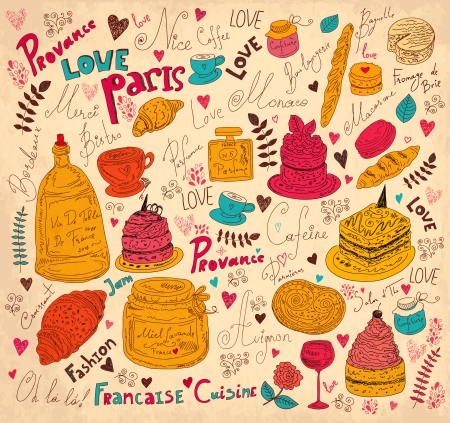 Vector background with symbols of food France Stock Vector - 17393702