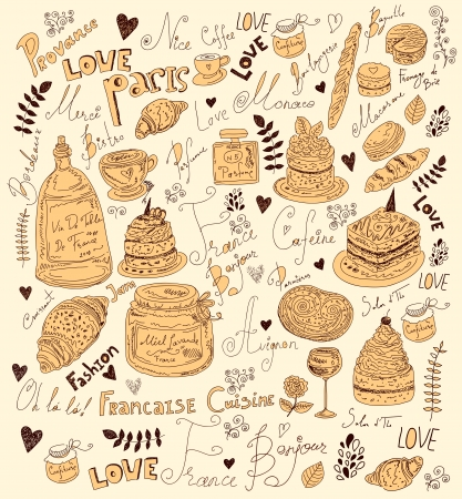 Vector background with symbols of food France Stock Vector - 17393678