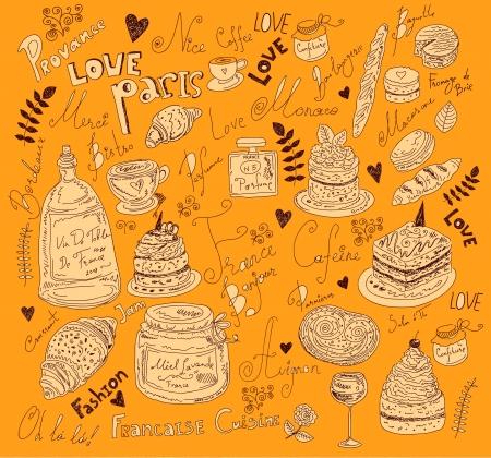 Vector background con simboli di cibo Francia Vettoriali