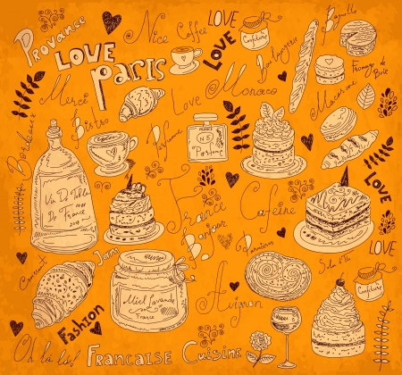 Vector background with symbols of food France Stock Vector - 17393700
