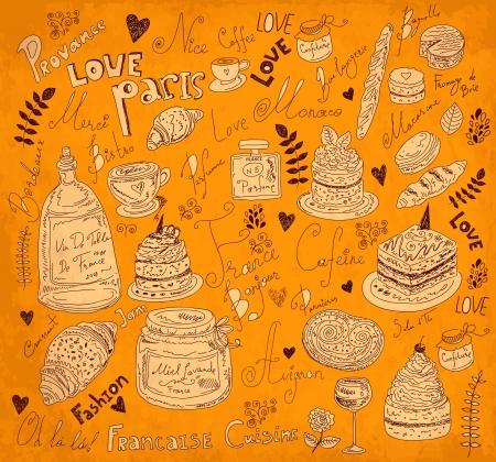 bike cover: Vector background with symbols of food France Illustration