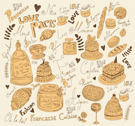 Vector background with symbols of food France Stock Vector - 17393668