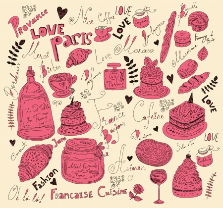 Vector background with symbols of food France Stock Vector - 17393670