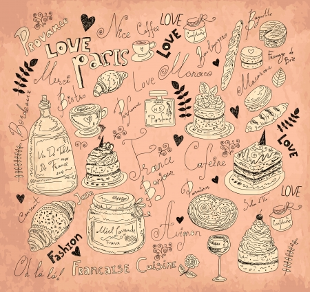 french bakery: Vector background with symbols of food France Illustration