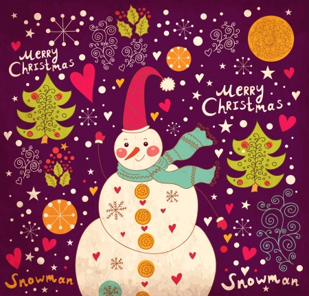 Christmas card with Snowman Vector