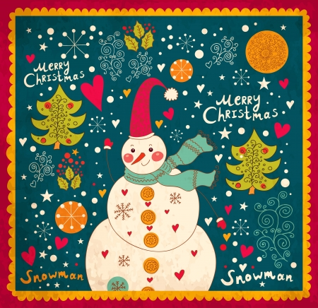 merry christmas and happy new year: Christmas card with Snowman