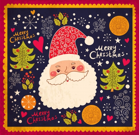 mas: Christmas illustration with funny Santa Claus