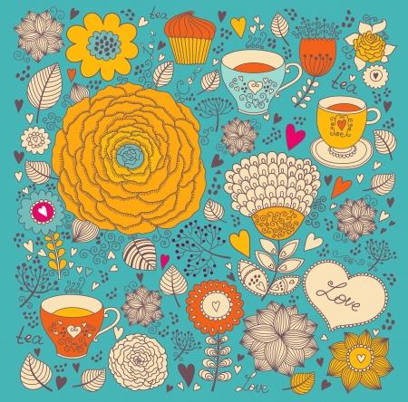 矢量花卉背景