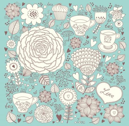 tea rose: Vector floral background