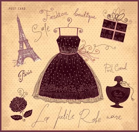 Ilustra??o do vetor com s?mbolos da moda francesa Ilustração