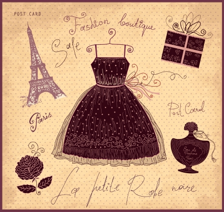 fashion boutique: Vector illustration with symbols of french fashion Illustration