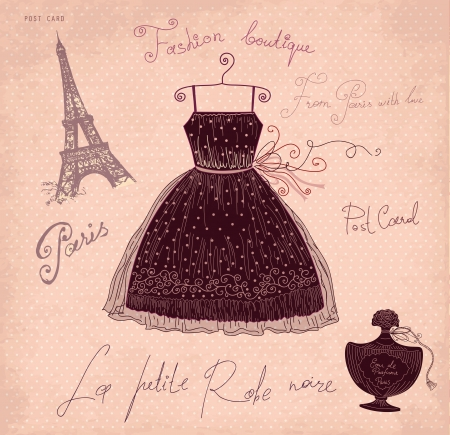 couture: Vector illustration with symbols of french fashion Illustration