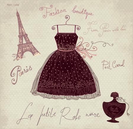 france perfume: Vector illustration with symbols of french fashion Illustration
