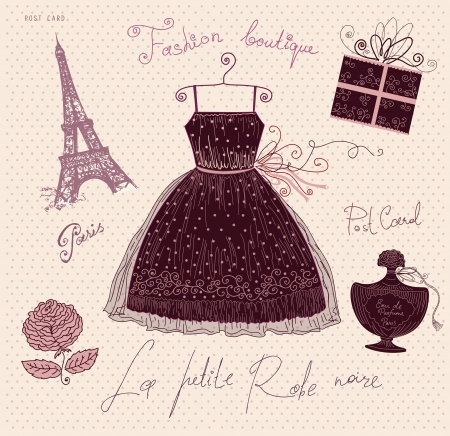 french perfume: Vector illustration with symbols of french fashion Illustration