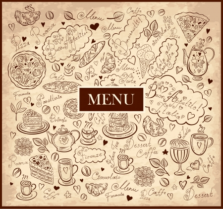 Vintage hand drawn dessert menu Vector
