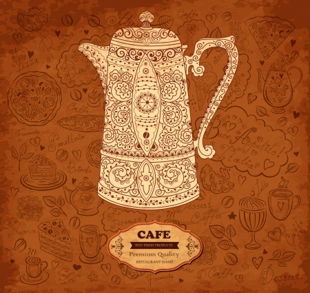 Vintage vector background with coffeepot Stock Vector - 17393778