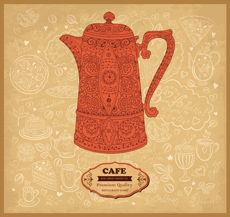 coffeepot: Vintage vector background with coffeepot Illustration