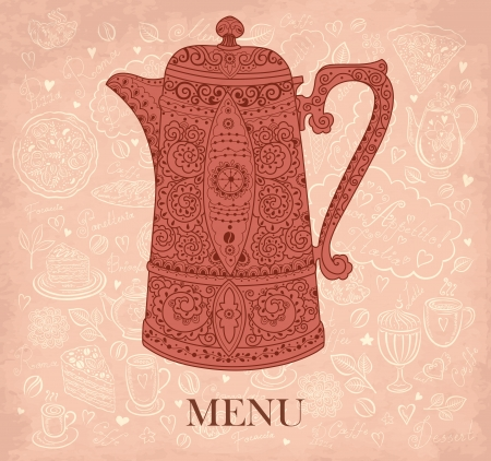 Vintage vector background with coffeepot Vector