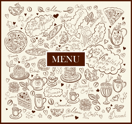 Vintage background with hand drawn elements for design menu