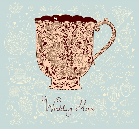 Pastel vintage floral card with beautiful cup Vector