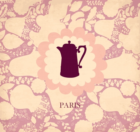 coffeepot: Pastel vintage floral card with coffeepot Illustration