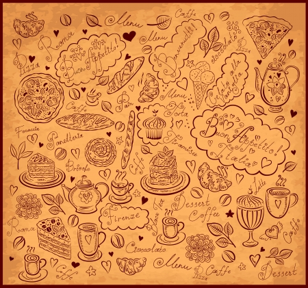 kitchen ware: Vintage background with hand drawn elements for design menu