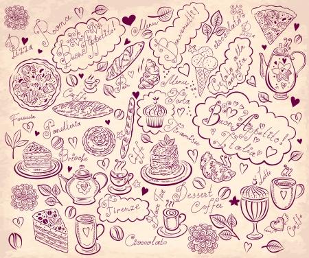 Fondo de la vendimia con la mano elementos dibujados para el menú de diseño