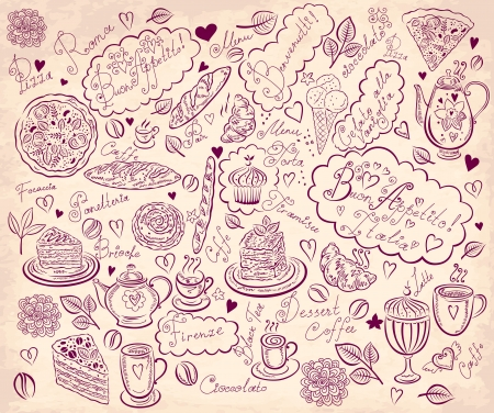 Vintage background with hand drawn elements for design menu Stock Vector - 17693842