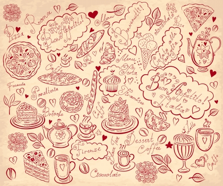 Vintage background with hand drawn elements for design menu Stock Vector - 17693843