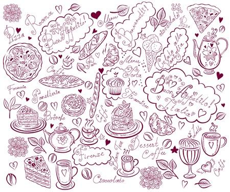 Fond de cru avec les éléments dessinés à main pour la conception du menu Banque d'images - 17393780