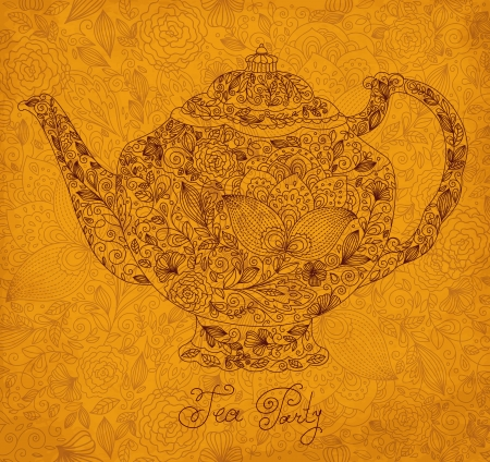Vintage ornamental teapot with retro background Stock Vector - 17393768