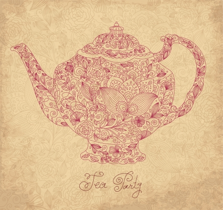 Vintage ornamental teapot with retro background Vector